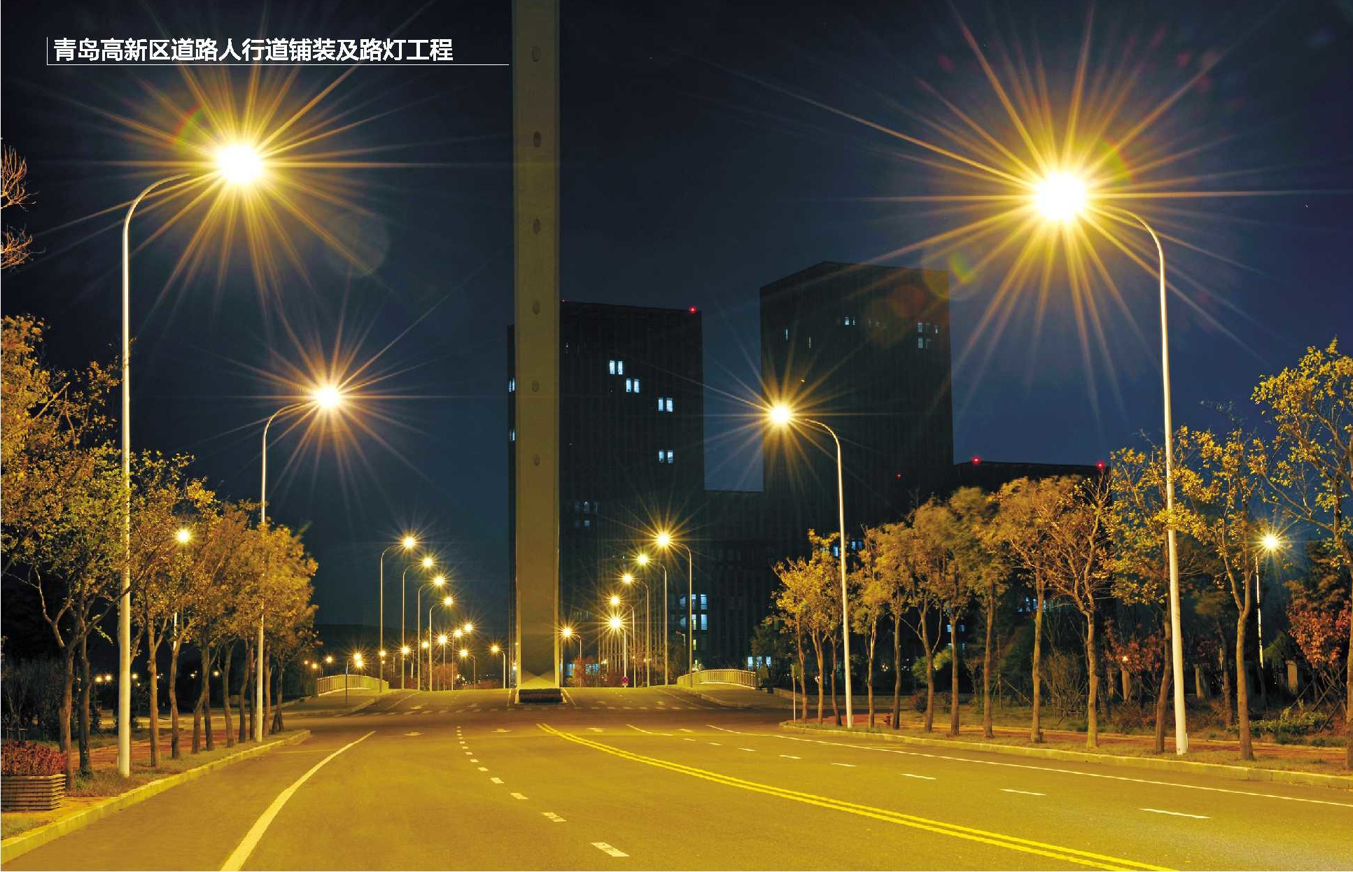 青岛高新区道路人行道铺装及路灯工程